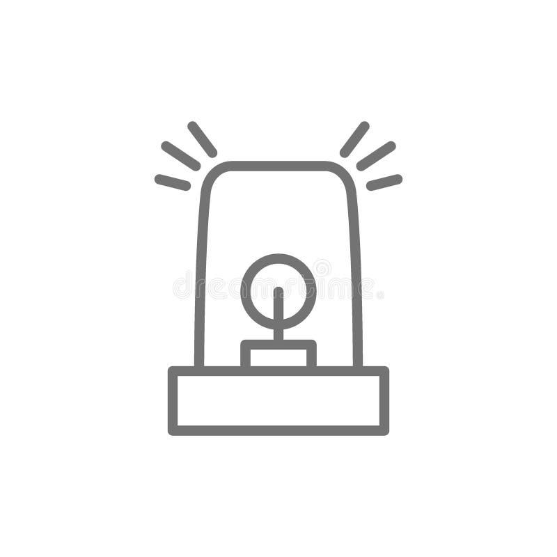 Nöd- medelbelysning, blinker, sirenlinje symbol vektor illustrationer