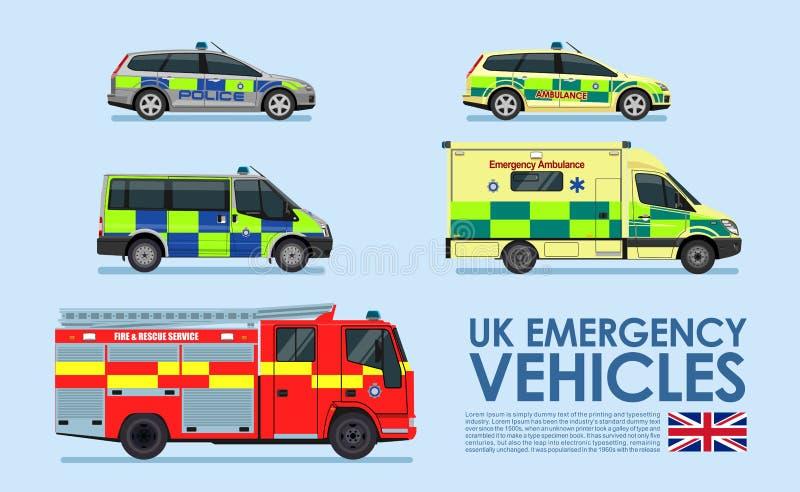 Nöd- medelbilar för UK, polisbil, ambulansskåpbil, brandlastbil som isoleras på blå bakgrund royaltyfri illustrationer