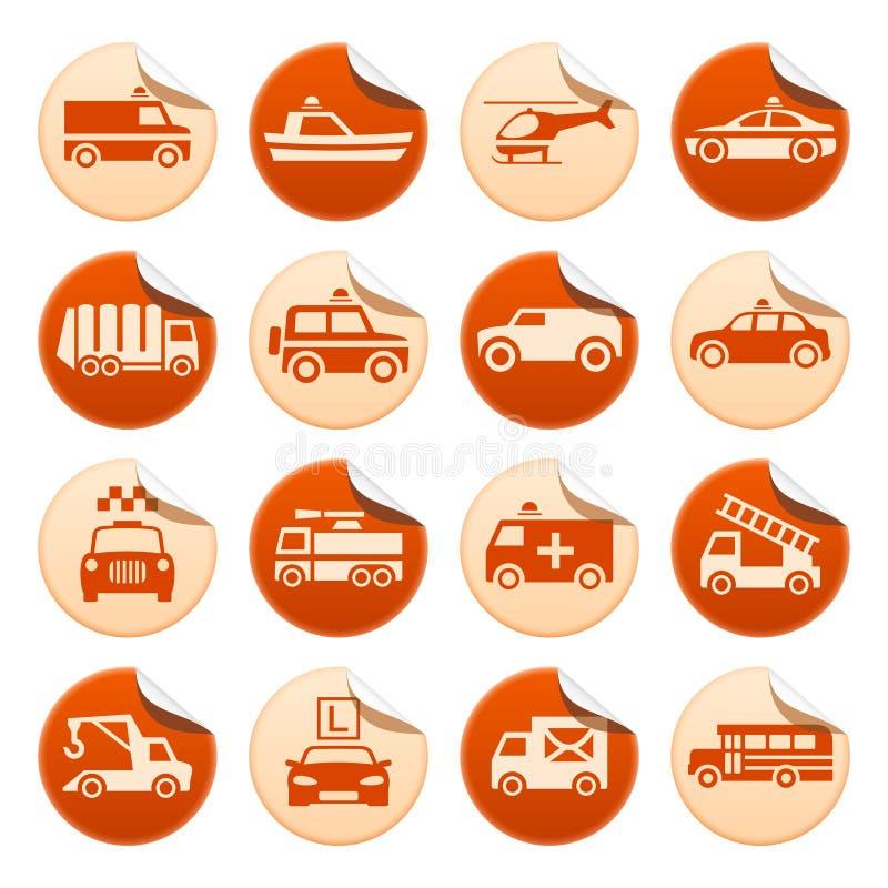 Nöd- räddningsaktion och andra speciala trans.klistermärkear stock illustrationer
