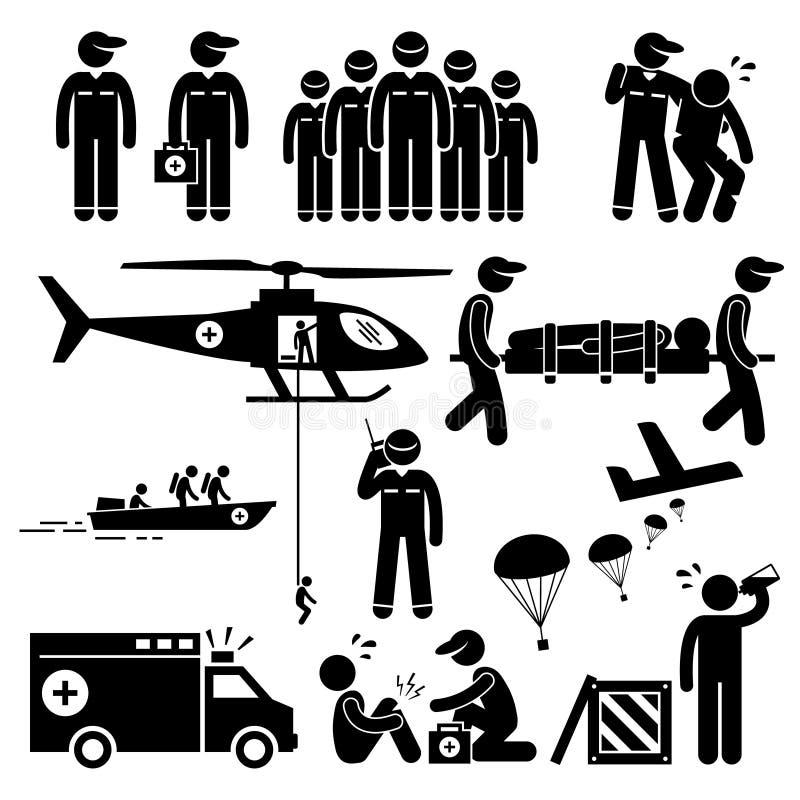 Nöd- räddningsaktion Team Clipart royaltyfri illustrationer