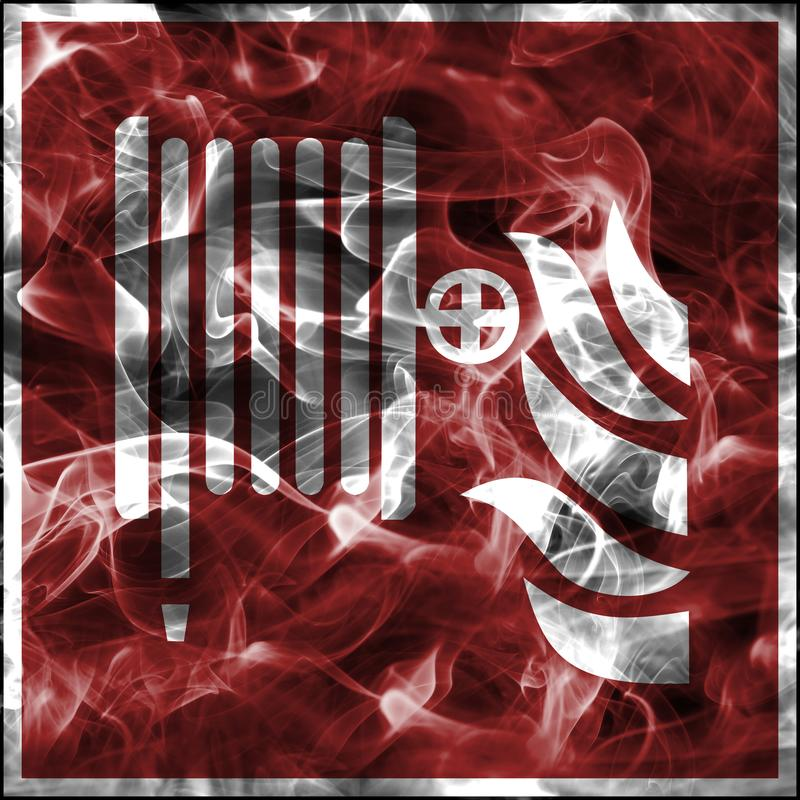 Nöd- röksymboler för brandbekämpningutrustning Standart brandsäkerhetstecken för rulle för brandslang royaltyfri illustrationer