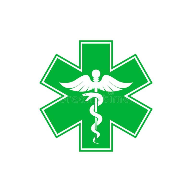 Nöd- stjärna - grön orm för medicinsk symbolCaduceus med pinnesymbolen som isoleras på vit bakgrund stock illustrationer