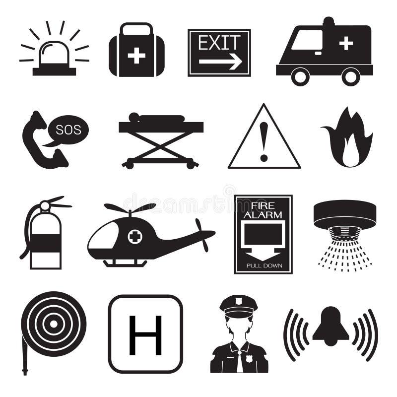 Nöd- symbolssamling royaltyfri illustrationer