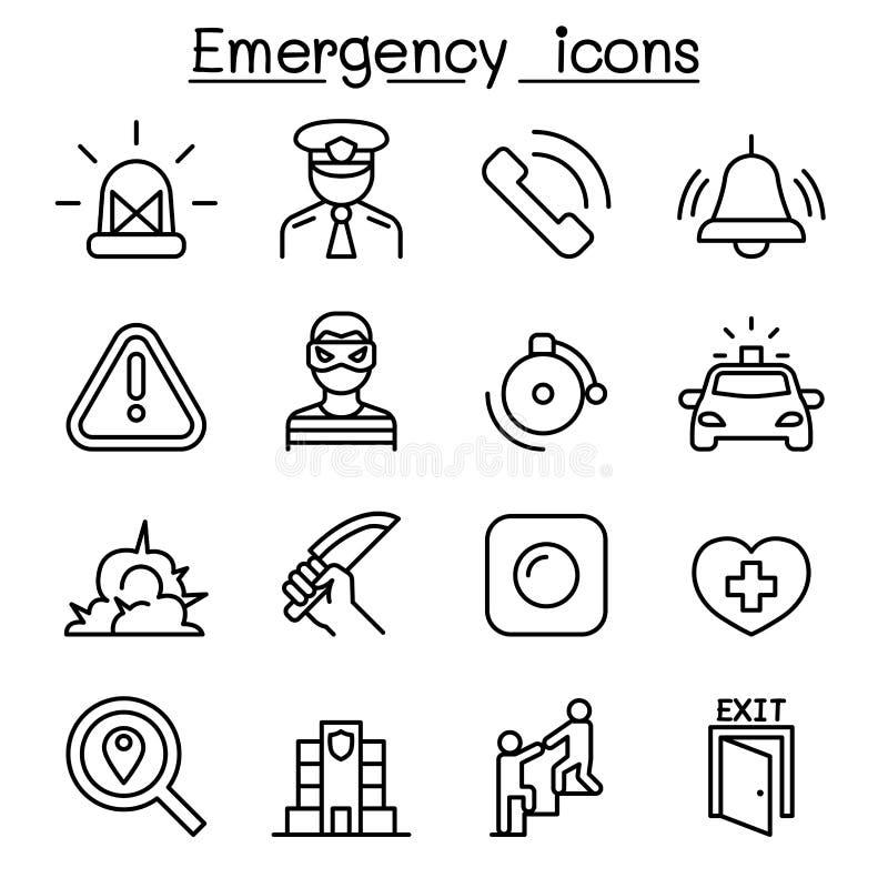 Nöd- symbolsuppsättning i den tunna linjen stil royaltyfri illustrationer