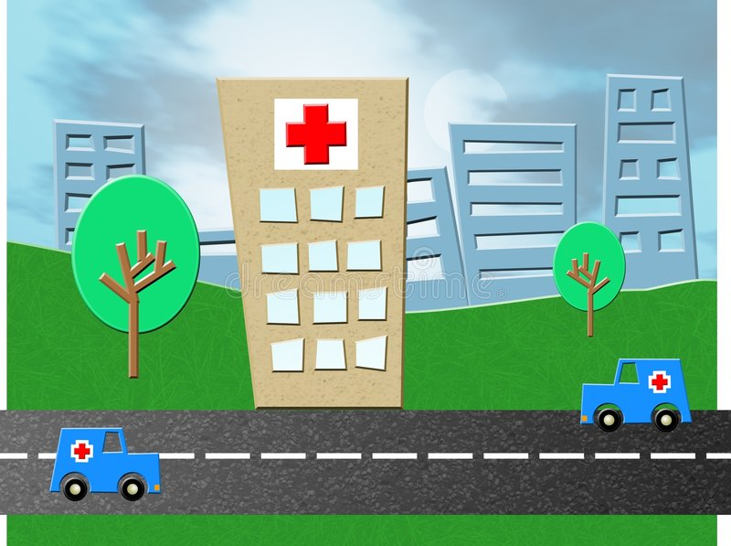nödlägesjukhus stock illustrationer