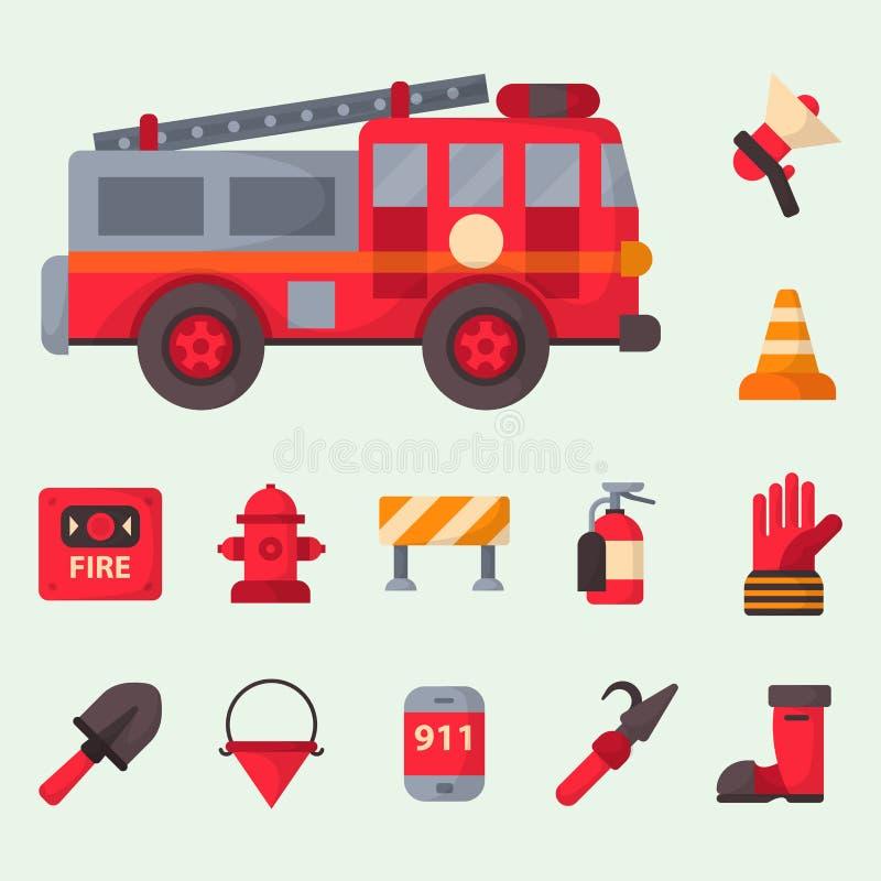 Nödläget för brandsäkerhetsutrustning bearbetar för faraolyckan för brandmannen den säkra illustrationen för vektorn för skydd vektor illustrationer