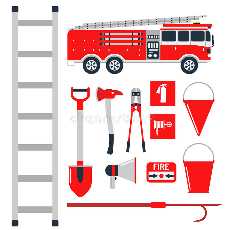 Nödläget för brandsäkerhetsutrustning bearbetar för faraolyckan för brandmannen den säkra illustrationen för vektorn för skydd royaltyfri illustrationer