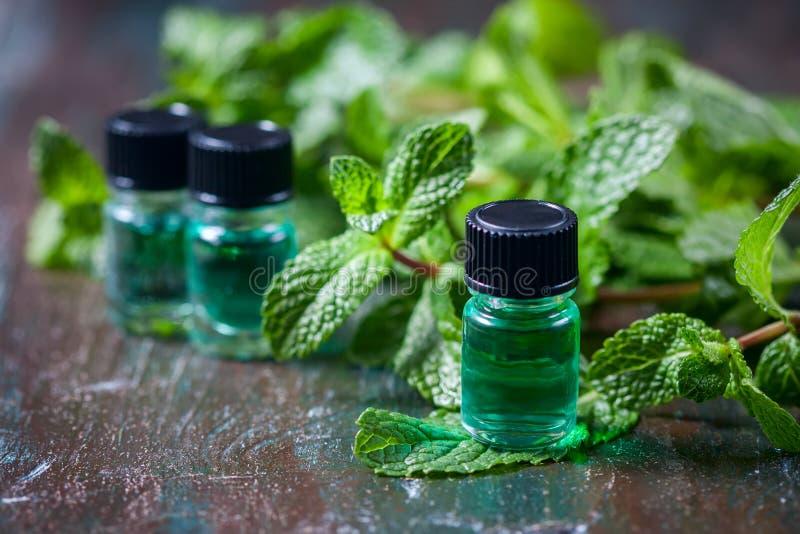 Nödvändig olja av pepparmint i små flaskor, ny grön mintkaramell på träbakgrund royaltyfri foto