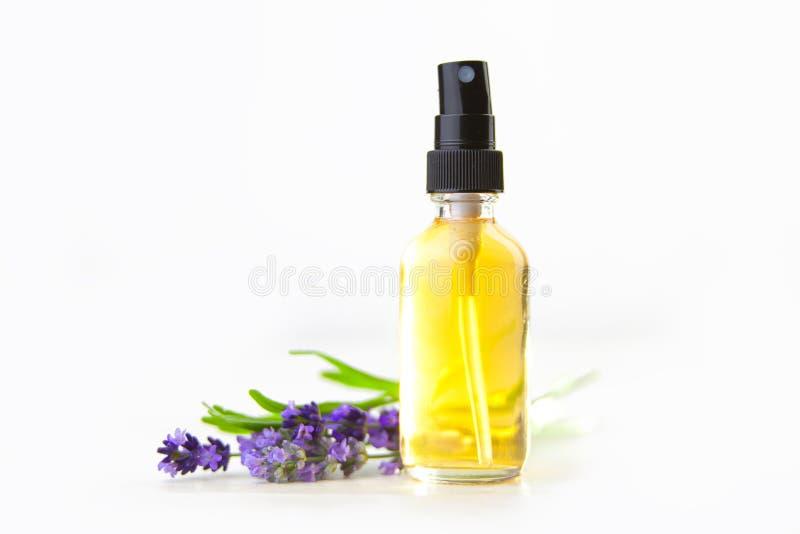 Nödvändig olja för lavendel i härlig flaska på vit bakgrund arkivfoto