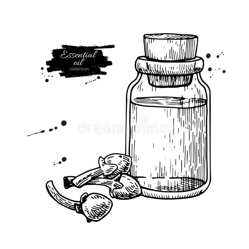 Nödvändig olje- flaska för kryddnejlika och hög av kryddor Hand tecknad vektorillustration stock illustrationer