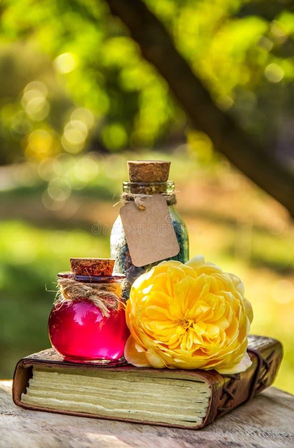 Nödvändig rosa olja och att salta menande set brunnsort för fridsam avkoppling Tvål-, handduk- och blommasnowdrops hjärtaförälske arkivbild