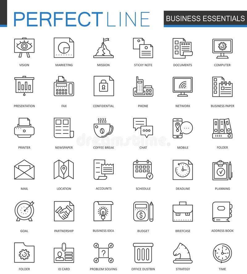 Nödvändig tunn linje rengöringsduksymbolsuppsättning för affär Design för översiktsslaglängdsymboler stock illustrationer