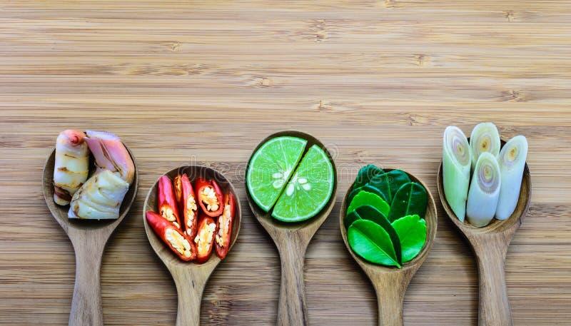 Nödvändiga ingredienser av Tom Yum, Thailand fomous mat royaltyfri bild
