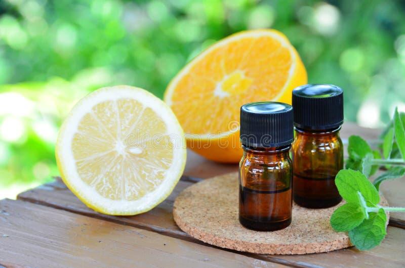 Nödvändiga oljor med citrusfrukter och örter royaltyfria foton