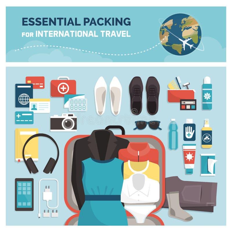 Nödvändigt emballage för internationellt lopp royaltyfri illustrationer