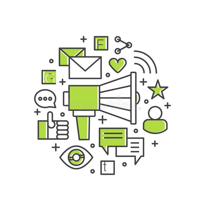 Nöjd befordran- och advertizingprocess Högtalare eller megafon med mejlmarknadsföring och användarvänliga meddelanden royaltyfri illustrationer