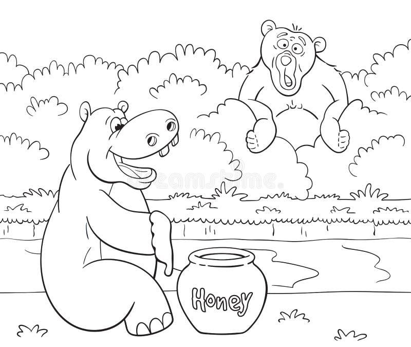 Nöjd flodhäst med honung och den förvånade björnen royaltyfri illustrationer