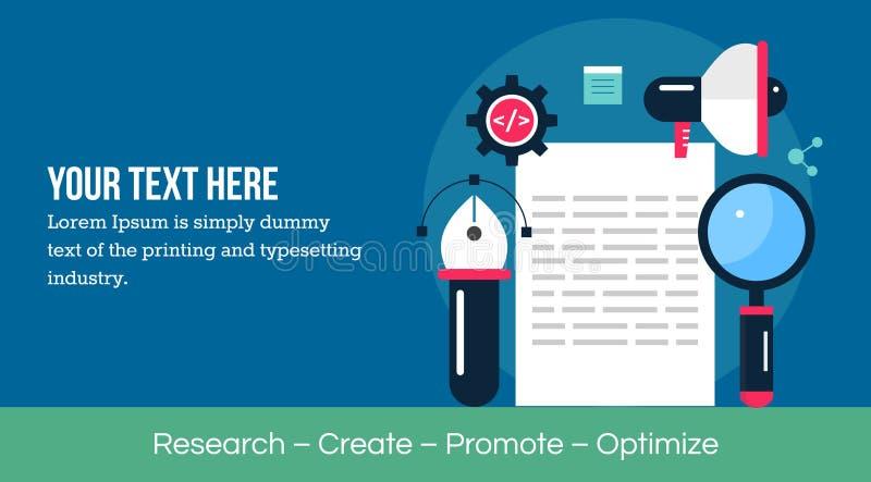 Nöjd forskning - nöjt skapelse- och innehållsbefordranbegrepp stock illustrationer