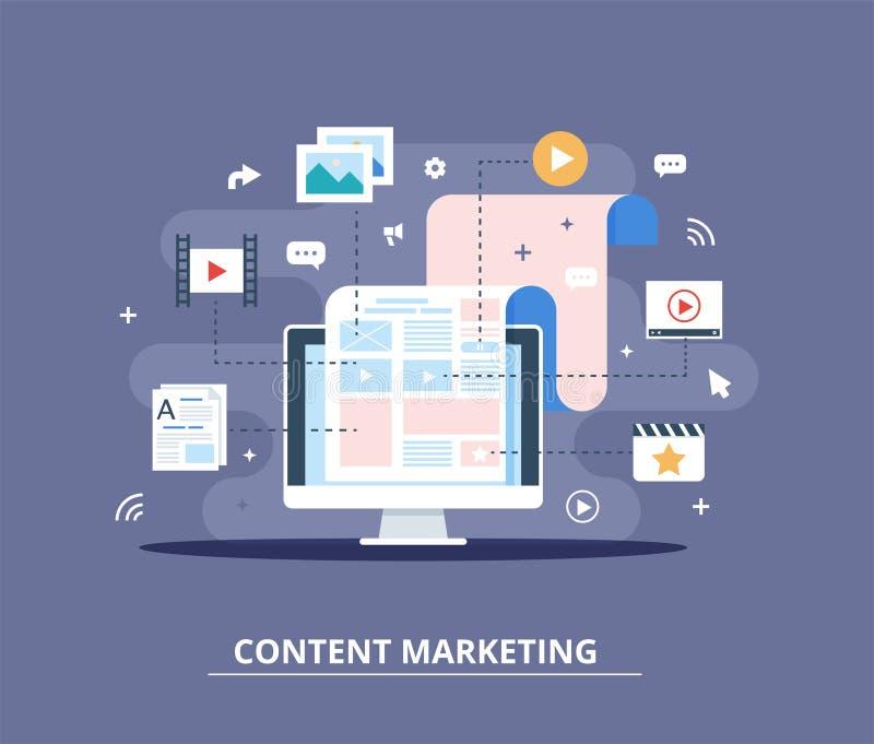 Nöjd marknadsföring, Blogging och SMM-begrepp i plan design Bloggsidan fyller ut med innehållet artiklar och massmedia royaltyfri illustrationer