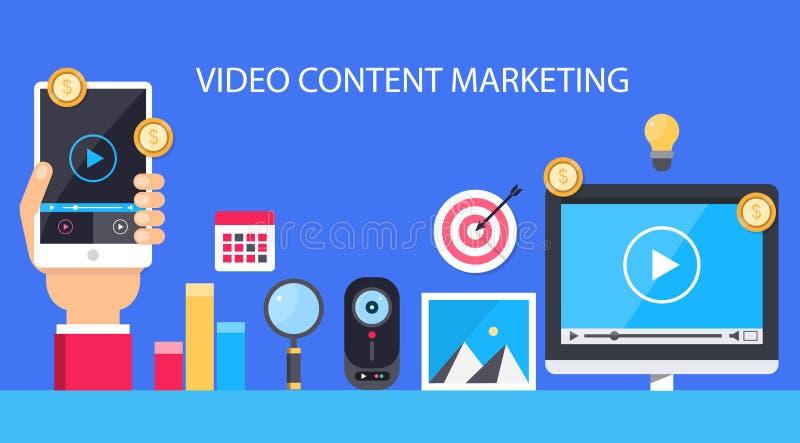 Nöjd marknadsföring för video Plan illustration royaltyfri illustrationer