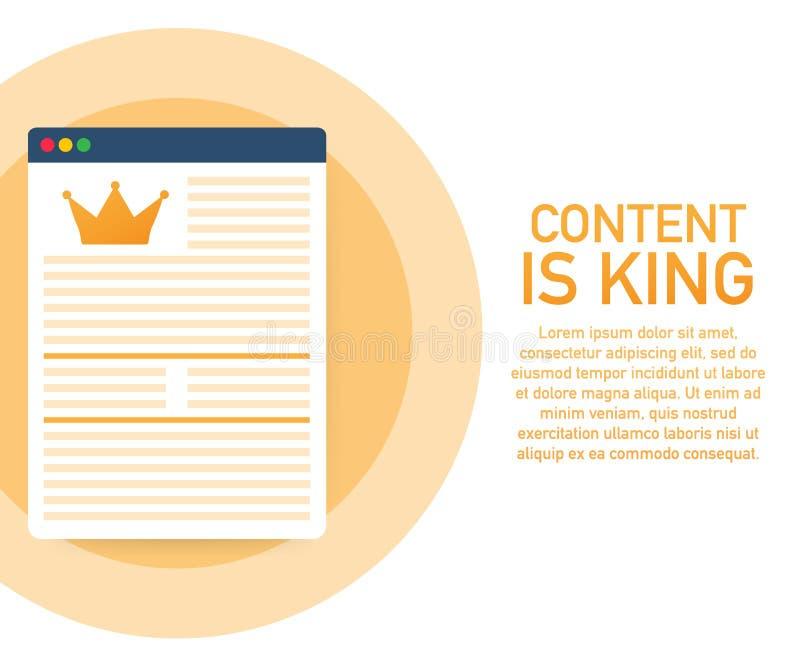 Nöjd marknadsföring - innehåll är konungen - Digitalt innehåll - annonsera det plana vektorbanret som isoleras på vit bakgrund stock illustrationer