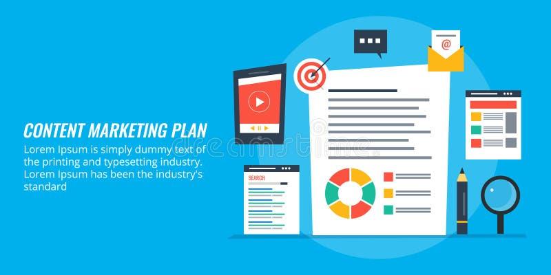 Nöjd marknadsföringsplanläggning, affärsbefordranstrategi via digitalt innehåll royaltyfri illustrationer