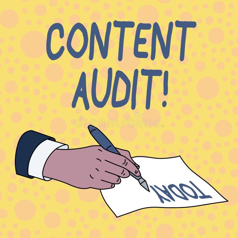 Nöjd revision för handskrifttext Begreppsbetydelseprocess av att utvärdera nöjda beståndsdelar och information royaltyfri illustrationer