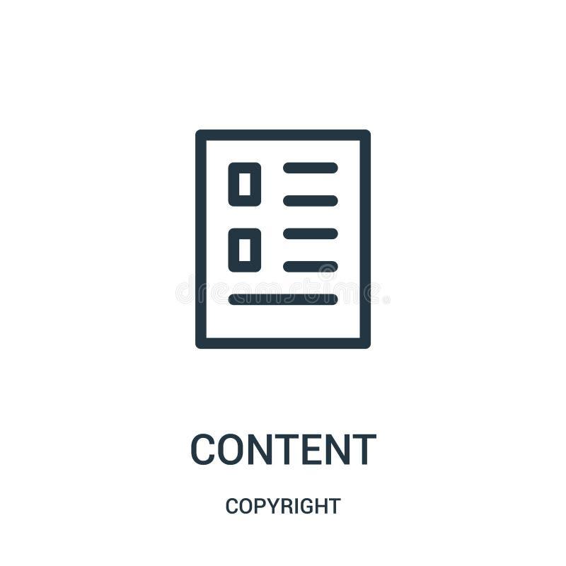 nöjd symbolsvektor från copyright-samling Tunn linje illustration för vektor för innehållsöversiktssymbol vektor illustrationer