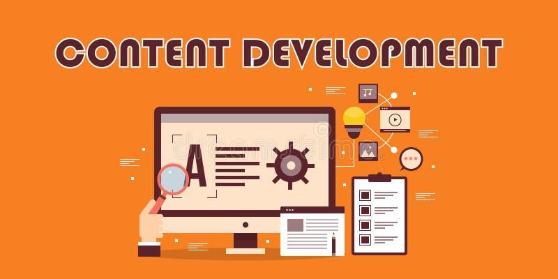 Nöjd utveckling, marknadsföring för digitalt innehåll, optimization, strategi, planläggningsbegrepp Rengöringsdukinnehåll, datafo royaltyfri illustrationer