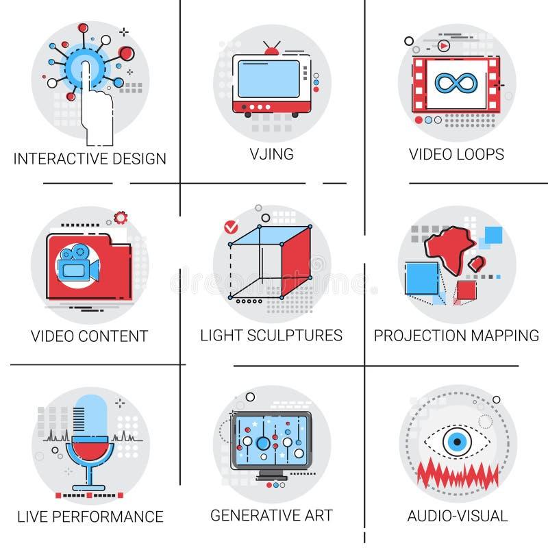Nöjda visuella multimedia moderna Art Interactive Design Icon Set för video vektor illustrationer
