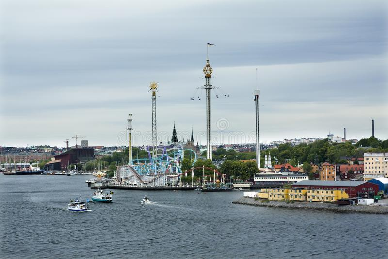 Nöjesfält av Grona Lund på den Djurgarden ön Juni 20, 2018, Stockholm, Sverige arkivbilder
