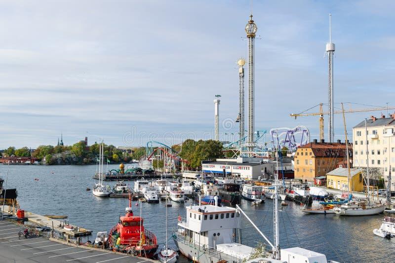 Nöjesfält Grona Lund i Stockholm arkivfoton