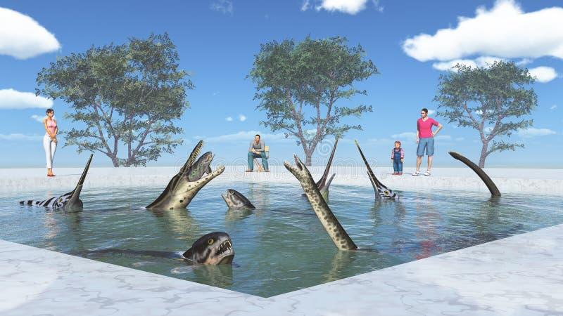 Nöjesfält med förhistoriska marin- reptilar royaltyfri illustrationer