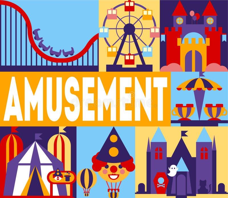 Nöjesfältbaner, karneval, cirkusFunfair med karuseller, Rollercoaster, illustration för fasaslottvektor royaltyfri illustrationer