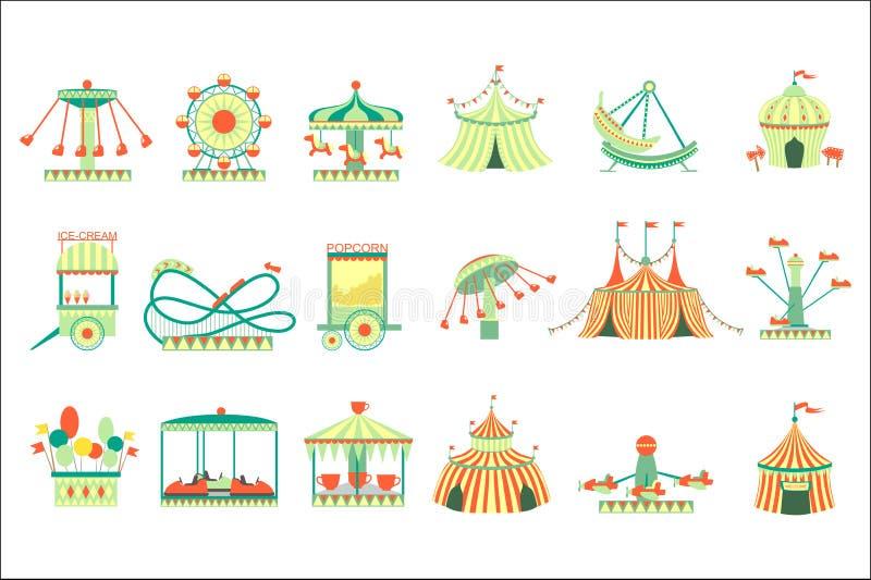 Nöjesfältbeståndsdelar ställde in av illustrationer för vektorn för tecknad filmstil som plana isolerades på vit bakgrund vektor illustrationer