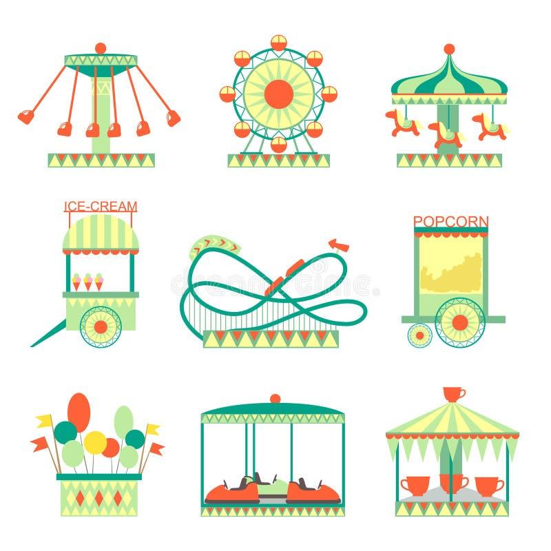 Nöjesfältbeståndsdeluppsättning stock illustrationer