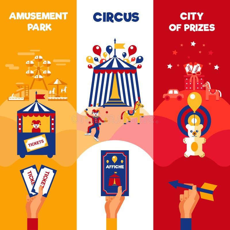 Nöjesfältcirkusen etiketterar 3 vertikala baner royaltyfri illustrationer