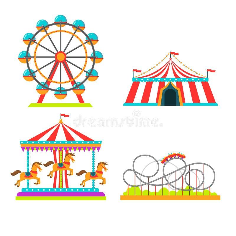 Nöjesfältillustration av dragningsritter, cirkustält, karusellkarusell och observationshjul eller rulle stock illustrationer
