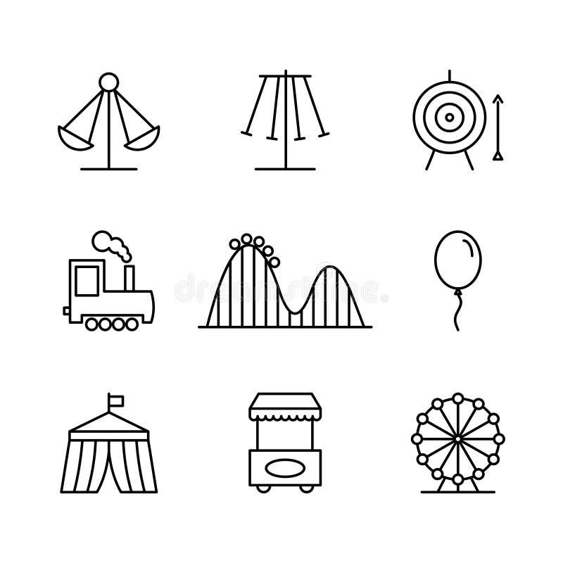 Nöjesfältsymboler i den tunna linjen stil royaltyfri illustrationer