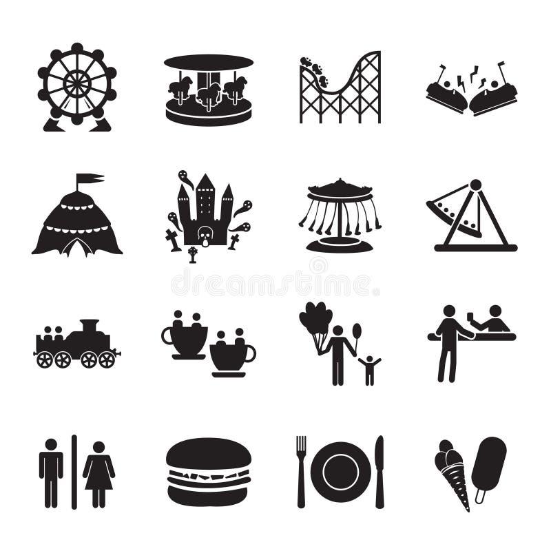 Nöjesfältsymbolsuppsättning stock illustrationer
