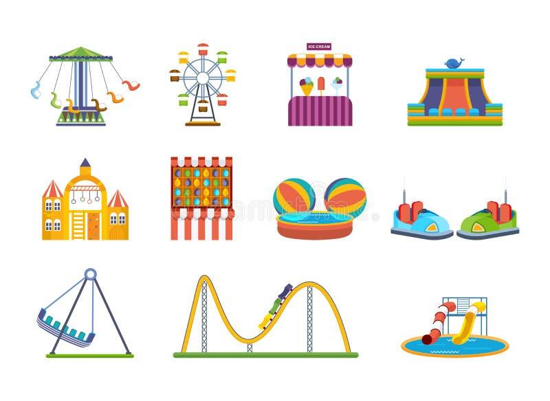 Nöjesplatslekar, lekplatser och avslappnande nöjesfält vektor illustrationer