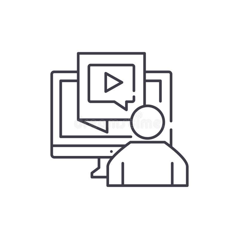 Nöjt produktionslinjesymbolsbegrepp Linjär illustration för nöjd produktionvektor, symbol, tecken vektor illustrationer