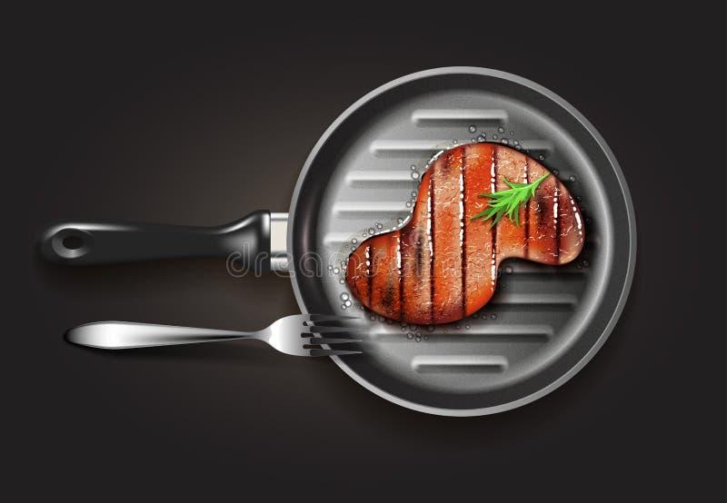 nötkött grillad steak stock illustrationer