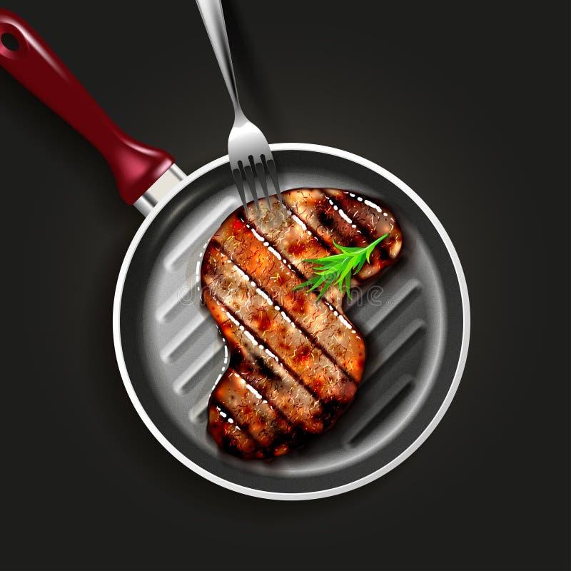 nötkött grillad steak vektor illustrationer