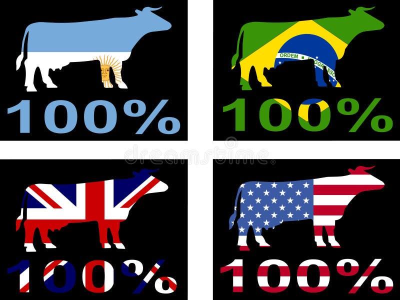 nötkött hundra en procent stock illustrationer