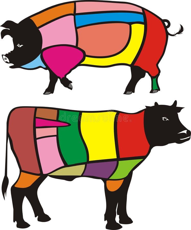 nötkött klipper pork stock illustrationer