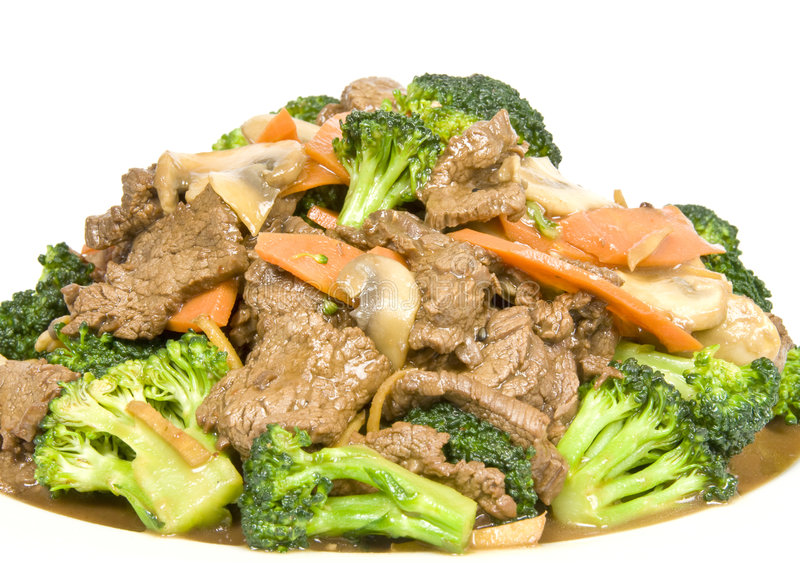 nötkött stekte stirgrönsaker royaltyfria bilder