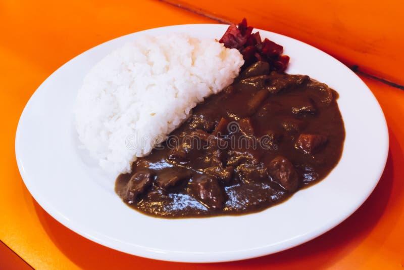 Nötköttcurry med ris, japansk mat arkivbilder