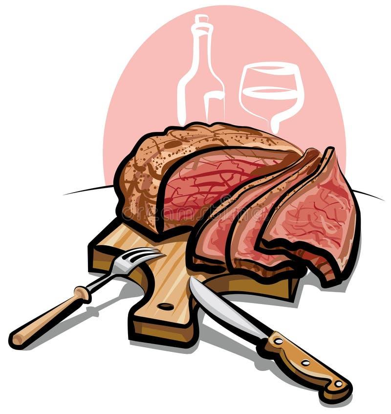 nötköttstek royaltyfri illustrationer