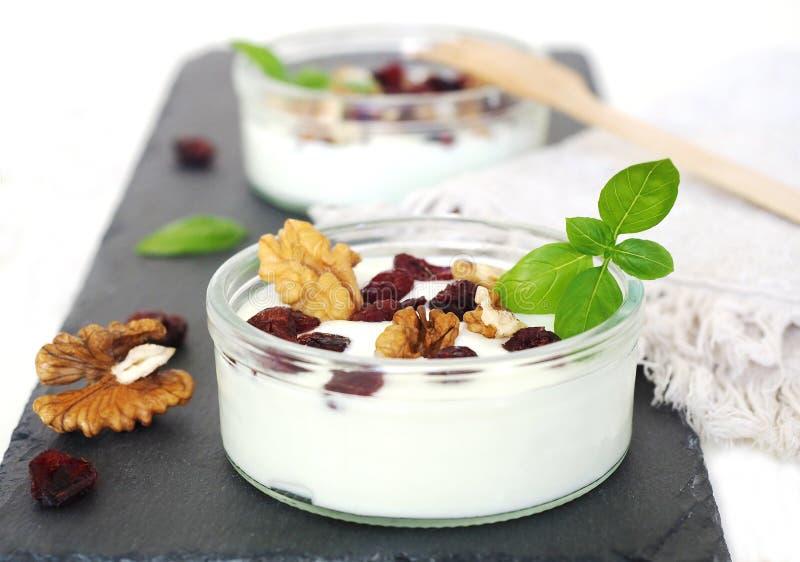 Nötter med nötter, färska yogurt royaltyfri foto